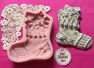 Christmas Sock boot Silicone Mold Food Safe Cake Decoration Candy Cupcake (FDA)
