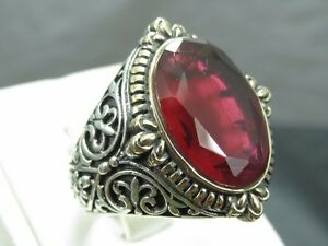 Handmade Men's Turkish 925 Fine Silver Claw Grasp Style Ruby Ring Size 8-12