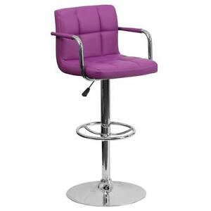Purple Quilted Vinyl Adjustable Height Bar Stool with Arms & Chrome Base