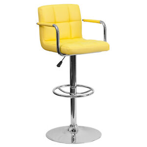Yellow Quilted Vinyl Adjustable Height Bar Stool with Arms & Chrome Base