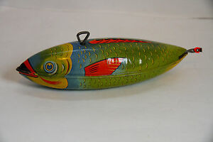 1950 s j chein mechanical wind up fish works