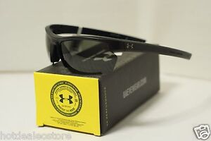 Under Armour UA Stride XL Satin Black Gray Sunglasses - ArmourSight ArmourFusion