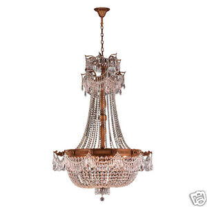 USA BRAND Winchester 12 Light French Gold Crystal Large Chandelier 36