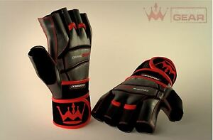 Crown Gear Dominator Strength Training Gloves Leather Crossfit Lifting Finger
