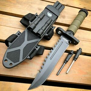 12.5 MILITARY Army TACTICAL Hunting FIXED BLADE SURVIVAL Knife w Fire Starter $19.95