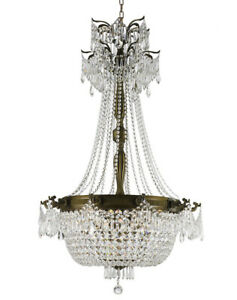 CLEARANCE SALE Winchester 10 Light Antique Bronze Crystal Chandelier 30x50 Large