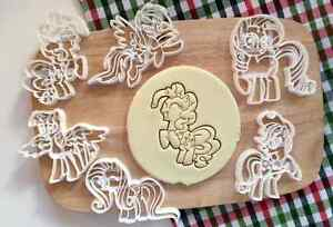 Set of 6 My Little Pony Cookie Cutter Cupcake Topper Fondant Gift Birthday Kids