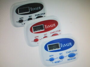 DIGITAL KITCHEN TIMERS ASSORTED COLORS PLASTIC MATERIAL 99.9 M/C DOWN LOT OF 3*