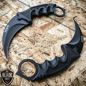 2 PC TACTICAL COMBAT KARAMBIT KNIFE Survival Hunting BOWIE Fixed Blade w SHEATH