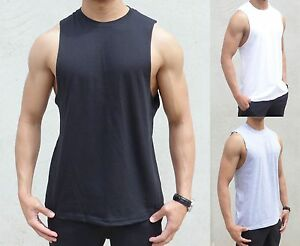 BULK 50 X PACK PLAIN sleeveless Singlet RAW EDGE MUSCLE TANK TOP BODYBUILDER gym