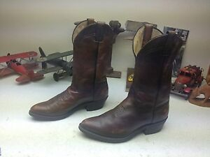DISTRESSED BROWN VINTAGE LEATHER DIRTY OLD CHUCK WAGON TRAIL BOSS BOOTS WORK 10