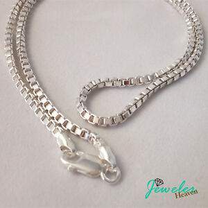 925 Sterling Silver BOX Chain Necklace Italy 2.5mm 18
