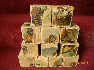 1898 victorian toy picture blocks large 2 1 2 cat