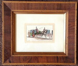 antique 19th century hand tinted lithograph ladies carriage English? Wood Frame $99.99