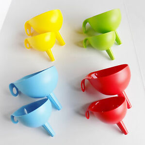 IKEA Plastic Funnel Set of 2 Blue Red Green Yellow **FREE SHIPPING** NEW