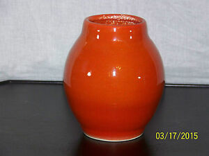 french lachenal art pottery retro orange glaze