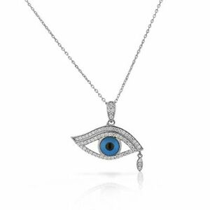 925 Sterling Silver White Clear CZ Evil Eye Tear Protection Pendant Necklace