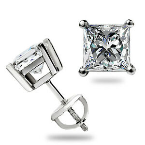 1.60 Ct Princess Cut Stud Earrings Lab Diamond Screwback Real 14k White Gold USA