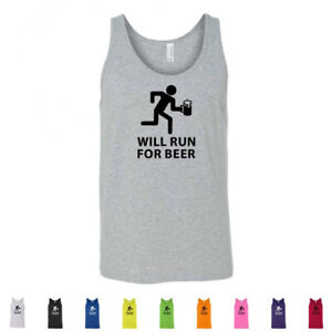 Will Run For Beer Funny Drinking 5K Booze Workout Cardio Mens Tank Tops