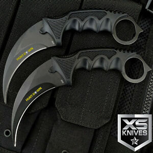 2pc TACTICAL COMBAT KARAMBIT KNIFE Survival Hunting BOWIE Fixed Blade w SHEATH