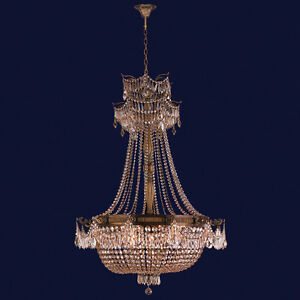 Winchester 12 Light Antique Bronze & Golden Teak Crystal Chandelier 36