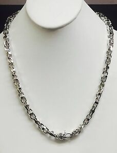 18k  Solid White Gold Anchor Mariner Bullet chain necklace 7.9 MM 125 Gram  22