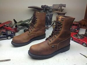 STEEL TOE JUSTIN MADE IN USA BROWN LEATHER LACE UP ENGINEER BOSS WORK BOOTS 14D