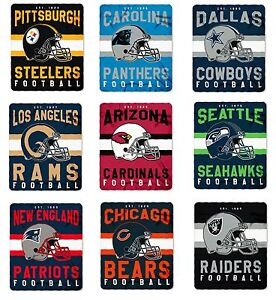 NFL Teams Singular Design Large Soft Fleece Throw Blanket 50quot; X 60quot;