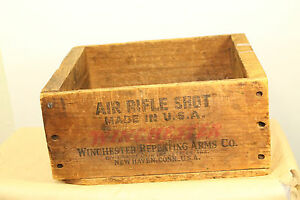 Vintage Winchester Ammo Wood Box - Steel Air Rifle Shot 100 Tubes Advertising