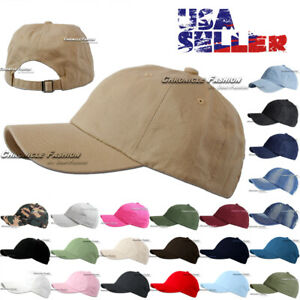 Cotton Hat Baseball Cap Washed Polo Style Adjustable Plain Solid Blank Dad Men $7.45