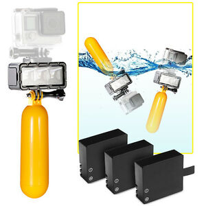 Floating Handle Grip LED Flash Light 3 Extra Batteries for Action Camera