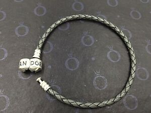 Genuine Pandora Single Strand Leather Grey Leather Bracelet 590705CGY-S1 6.9