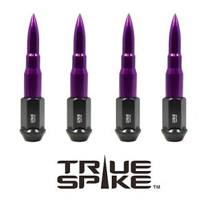 32PC VMS RACING 112MM 14X1.5 FORGED STEEL LUG NUTS W PURPLE EXTENDED BULLETS