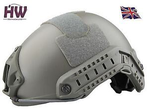AIRSOFT MH TYPE OPS FAST BASE JUMP HELMET GREEN OD FG WITH ARC RAILS
