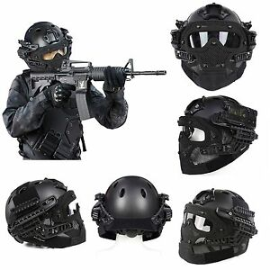 Tactical Airsoft Paintball Fast Helmet Protective with Mask Goggles
