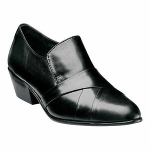 Mens Stacy Adams Soto Black Leather Cuban Heel loafer Dress Shoes Sale 24820-001