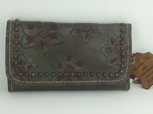 Women's AMERICAN WEST Brand Dark Green GENUINE LEATHER TriFold Wallet - $89 MSRP