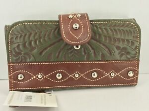 Women's AMERICAN WEST Brand Dk Green GENUINE LEATHER TriFold Wallet - $89 MSRP