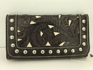 Women's AMERICAN WEST Brand Dark Brown GENUINE LEATHER TriFold Wallet - $89 MSRP