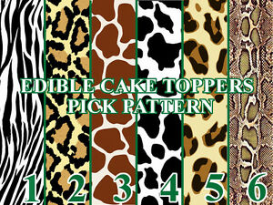 ANIMAL PRINT PATTERNS Image Edible Cake toppers cupcakes strips and more...