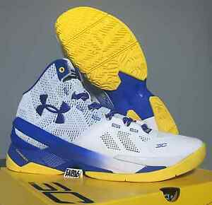 Stephen Curry 2 II Under Armour UA Dub Nation Away Home Yellow Blue Warriors
