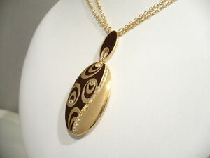 Silver 925 Necklace Gold Plated Enamelled with Zircons