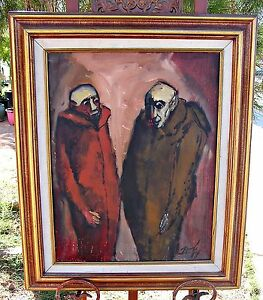 Listed Artist Jose Echave Mexico Original Oil Framed Vampire Dracula $500.00