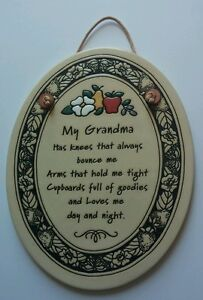 TRINITY POTTERY 7quot; Oval Plaque quot;MY GRANDMAquot; Nice Gift for Grandma Never Used