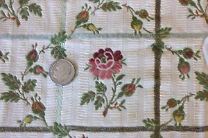 French Antique Roses amp; Buds Silk amp; Cotton Brocaded Fabric Textile c1918 Sm Frame $54.00