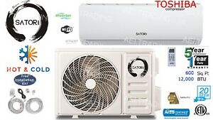 12000 BTU Ductless Air Conditioner Heat Pump Mini Split 110V 1Ton W Kit amp; Wifi