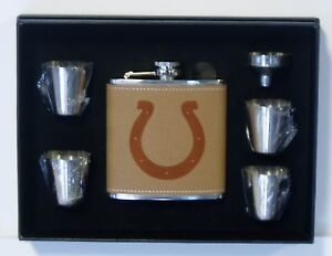 INDIANAPOLIIS COLTS 6 OZ LEATHER ENGRAVED STAINLESS STEEL FLASK W 4 SHOT GLASSES