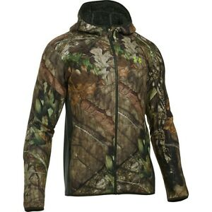 Men Under Armour Stealth Fleece Hoodie Mossy Oak Zip Up Storm Hunting Jacket NEW