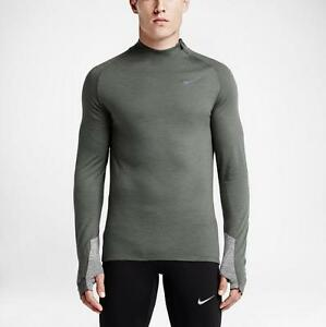 New Nike Mens Grey Two-Tone Dri-FIT Wool Long Sleeve Running Shirt MSRP $110.00