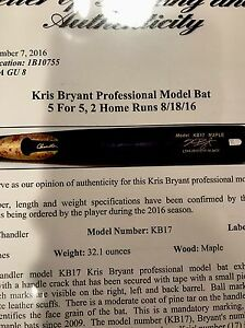 GAME USED BAT KRIS BRYANT 8182016-81916 Too Photo Matched 5-5 Game MVP STICK